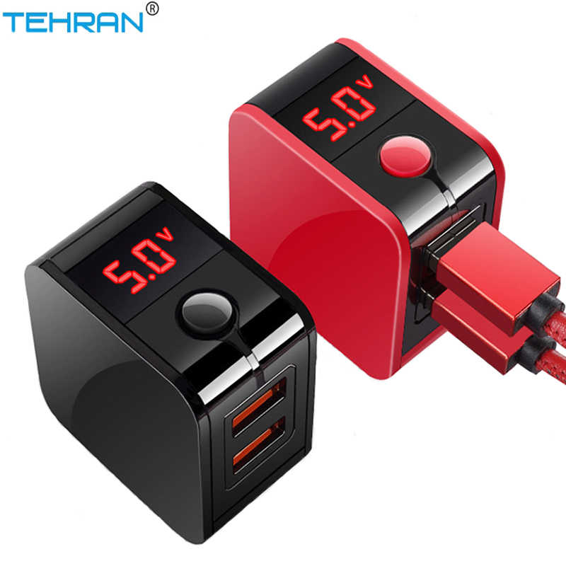 TEHRAN 5V 2.4A  LED display dual USB charger  fast charge charger portable travel adapter For  Samsung  iPhone Huawei XiaoMi