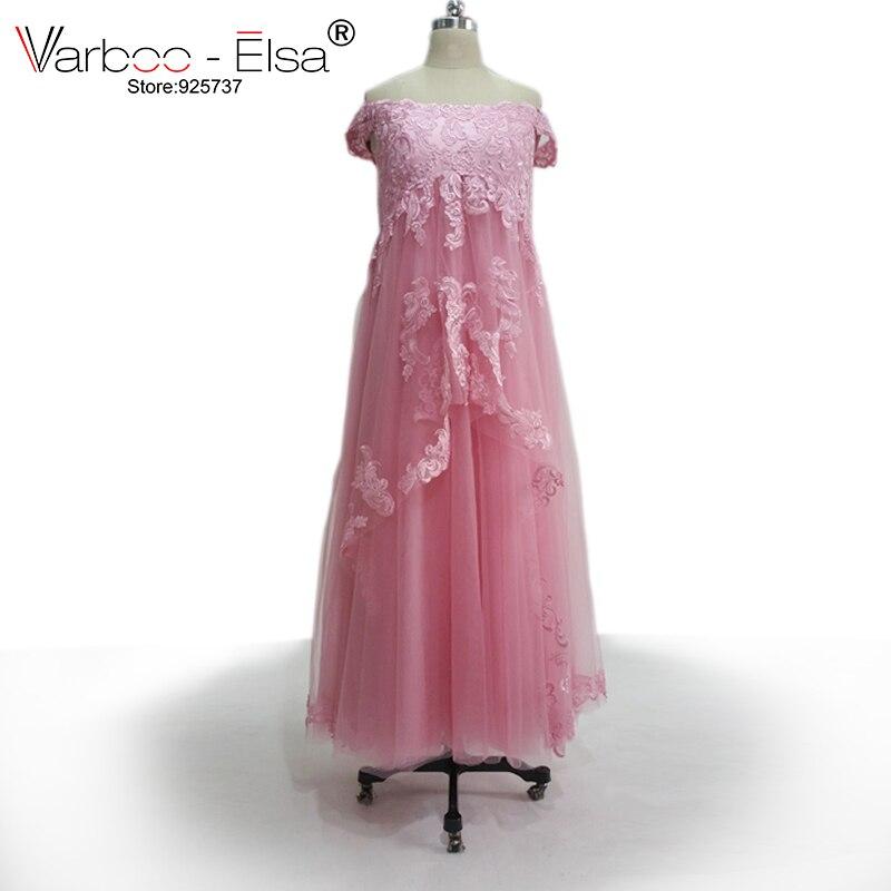 2b6a3ff6c5 VARBOO ELSA Rosa elegante vestido tulle vestido de maternidad formal del  applique del cordón del vestido de noche más tamaño robe de Soiree