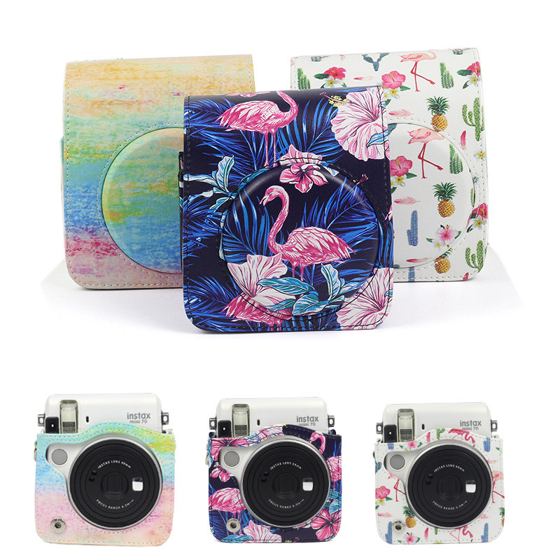 Paint Flamingo PU Leather Bag Case Cover For Fuji Fujifilm Instax Mini 70 Instant Film Camera Protector Pouch W/Shoulder StrapPaint Flamingo PU Leather Bag Case Cover For Fuji Fujifilm Instax Mini 70 Instant Film Camera Protector Pouch W/Shoulder Strap