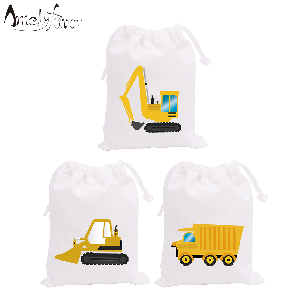 Construction Trucks Theme Party Bags Candy Bags Gift Bags Digger Series 2 Decorations Birthday Event Party Container Supplies