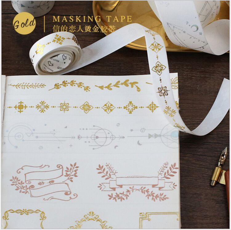 Vintage Gold Stamping Interstellar Orbit Flower Lace Border Magic Totem Antlers Washi Tape DIY Planner Scrapbooking Masking Tape