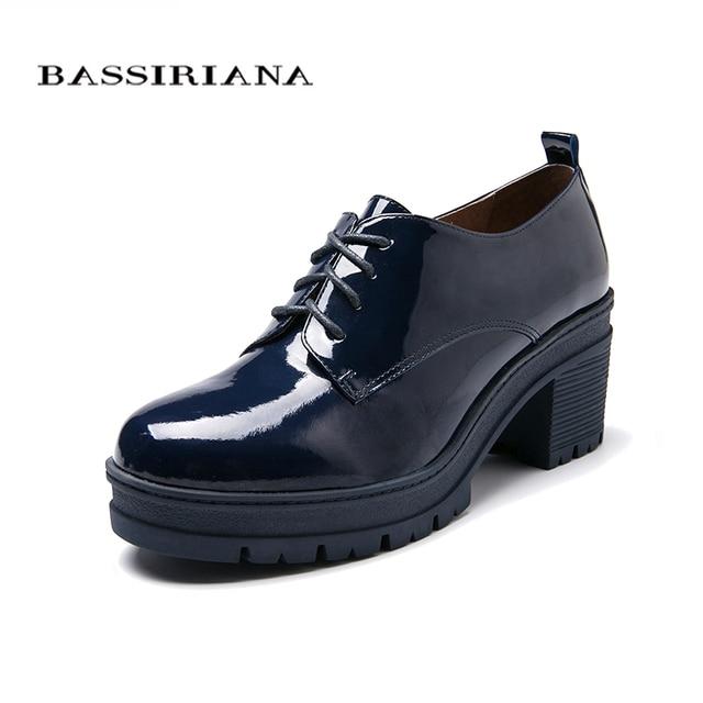 Женщина насосы Подлинной лакированной кожи Мода на Шнуровке Hig каблуки обуви женщина Черный Бордовый Голубой Бесплатная доставка BASSIRIANA