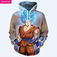 BOOCRE Dragon Ball Z Jacket  Super Saiyan 3D Printed Sweatshirt Hoodies Pullovers One Piece Anime Goku Funny Cartoon Hooded