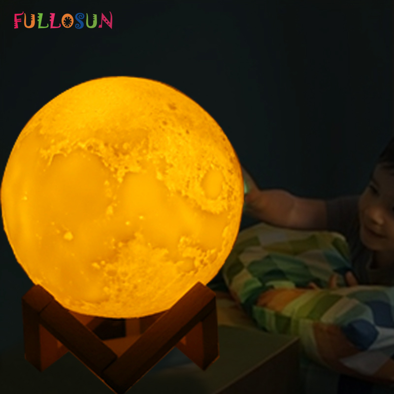 Creative 3D Print Moon Lamp USB Rechargeable LED Night Light Color Change Touch Control Moon Light as Christmas Kids Gift