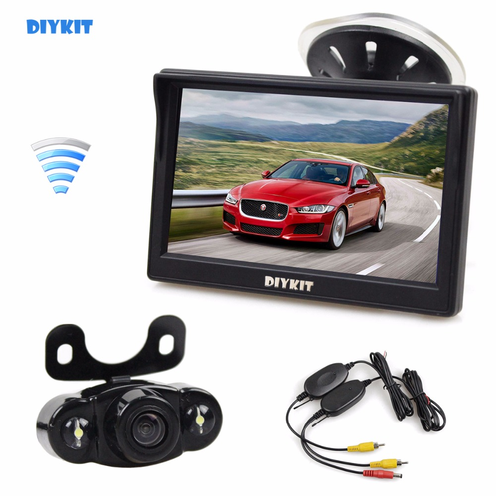 DIYKIT Wireless 5 inch LCD Display Rear View Car Monitor with LED Night Vision Car Camera