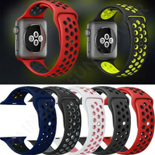 Silicone strap band for Apple Watch series 4/3/2/1 38mm 42mm rubber wrist bracelet iwatch band 40mm 44mm Sport Wristbands недорого