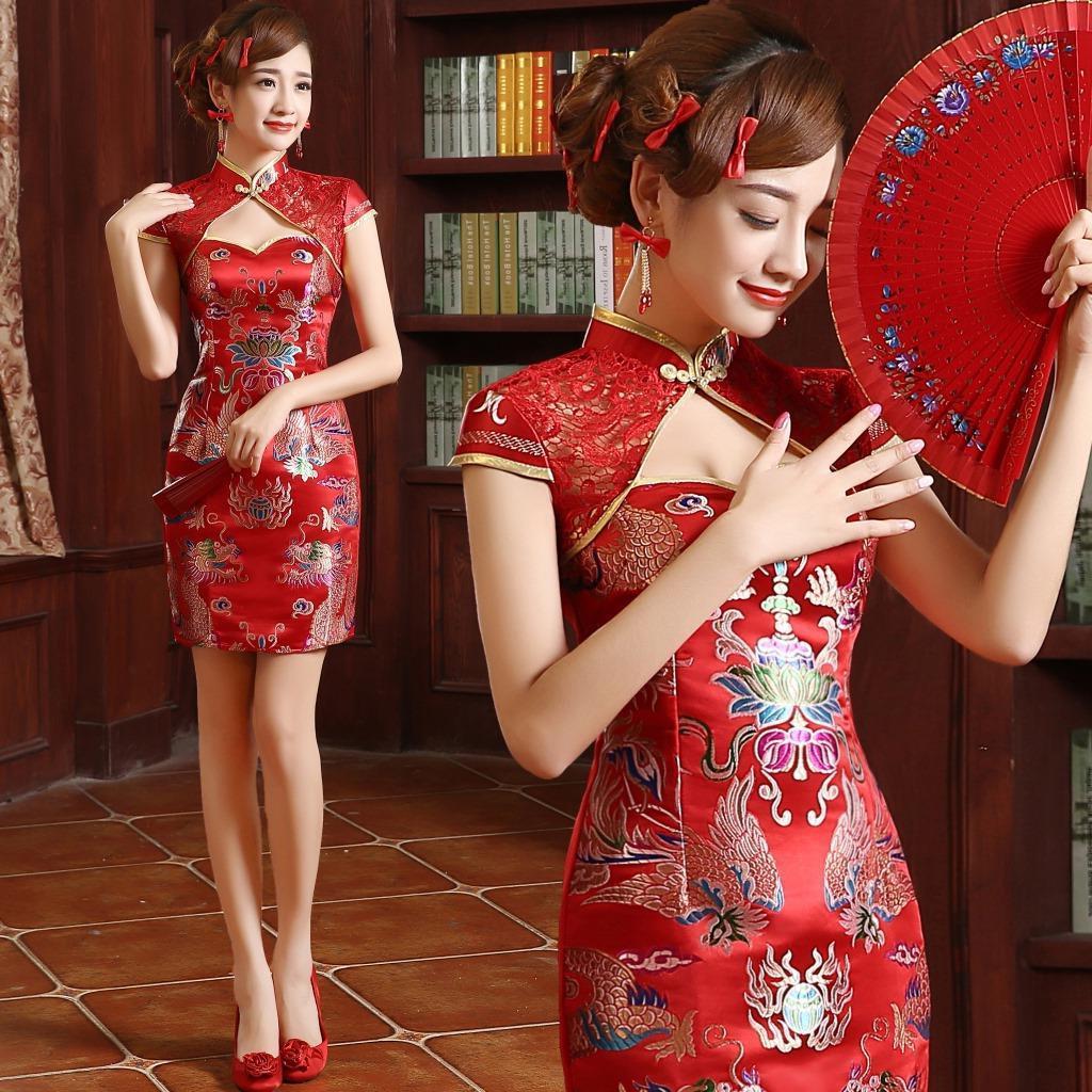 Cheongsam Phoenix Red Modern Cheongsam Wedding Dress