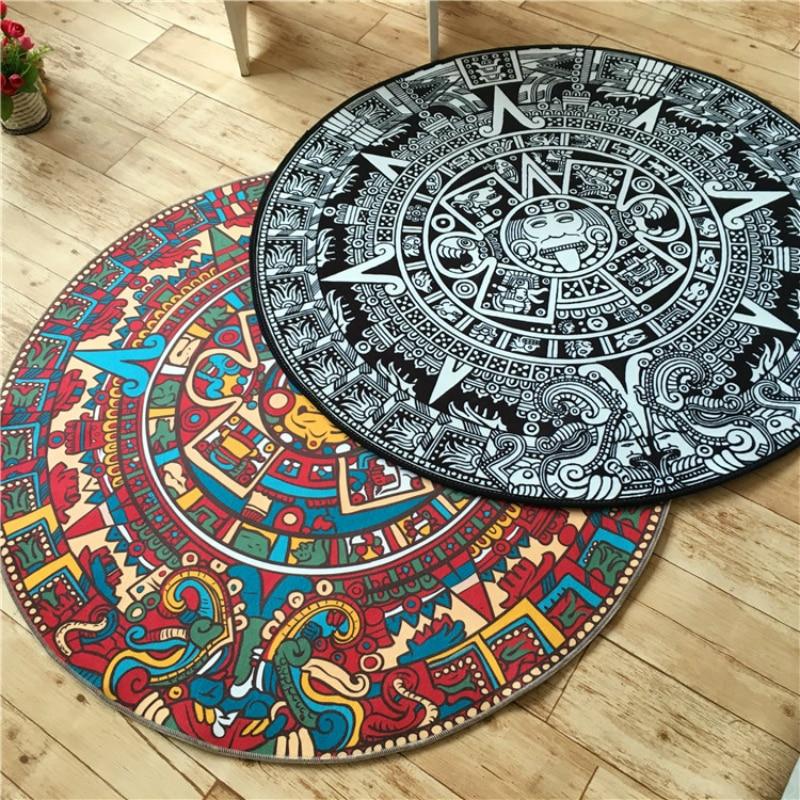 Quality Acrylic Captain Round Rugs Living Room Doormat Cartoon Carpets Door Floor Mat For Bedroom Creative Mayan Culture Decor