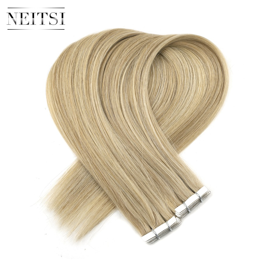 Neitsi Double Drawn Tape In Remy Human Hair Extensions Invisible Love Line Skin Weft Hair Straight 16