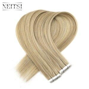 Neitsi Dubbel Getrokken Tape In Remy Human Hair Extensions Onzichtbare Liefde Lijn Huid Inslag Haar Straight 16