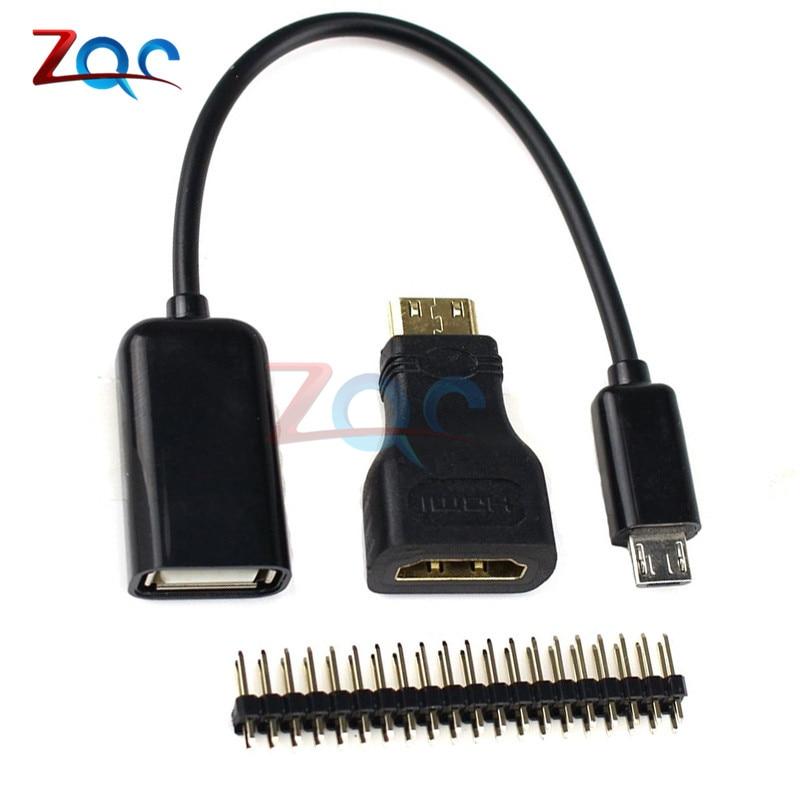 3 in 1 Raspberry Pi Zero W Kit Mini HDMI to HDMI Adapter+Micro USB to USB Female Cable+Male GPIO Header3 in 1 Raspberry Pi Zero W Kit Mini HDMI to HDMI Adapter+Micro USB to USB Female Cable+Male GPIO Header