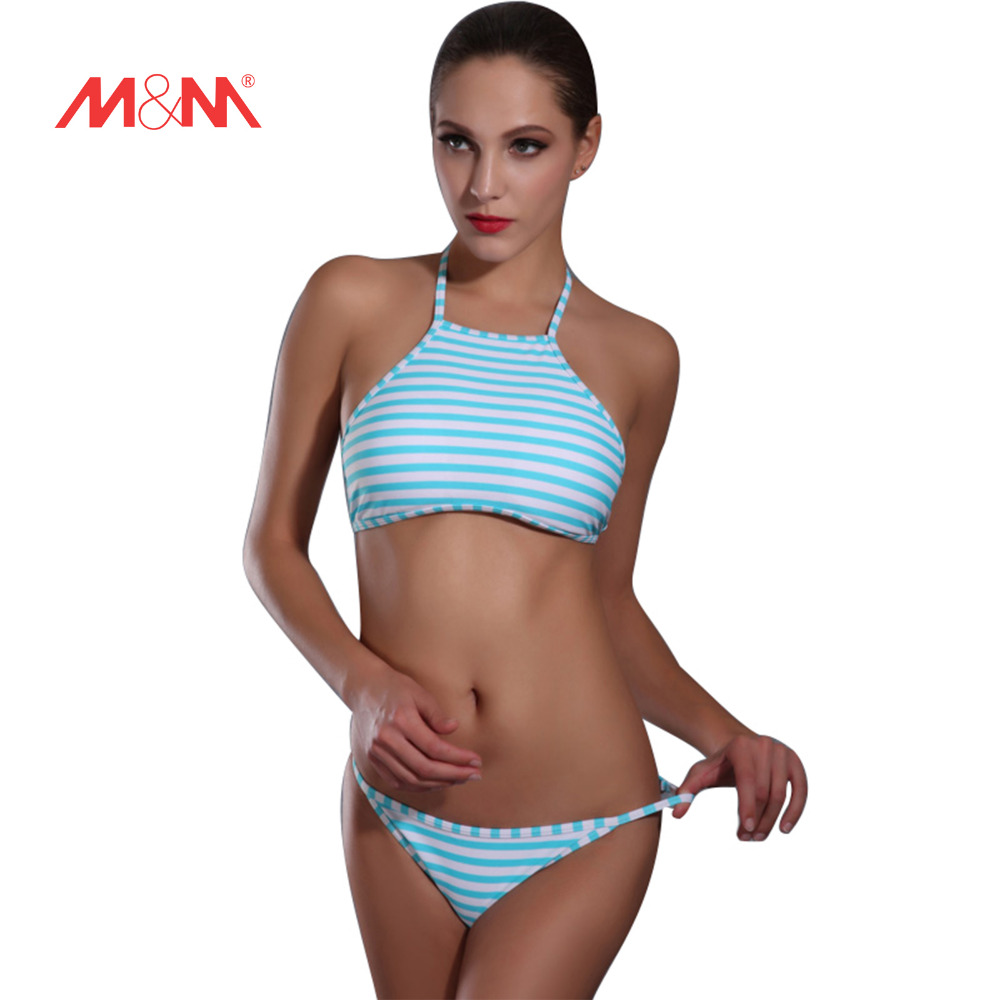 2016 New Striped Sexy Bathing Suit Bikini High Neck Halter Swimwear Bikini Set Biquini Maillot De Bain Swimsuit SAKJ1613 new sexy swimwear women bikini set halter unpadded bra tankini two piece high neck print swimsuit bikini 2017 maillot de bain