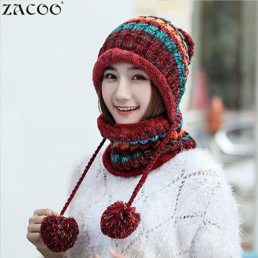Women's Skullies & Beanies Women's Hats Cheap Price Zacoo 2pcs/set Winter Women Knitted Hat Scarf Fashion Wool Thickening Hat Collars Set San0 With The Best Service
