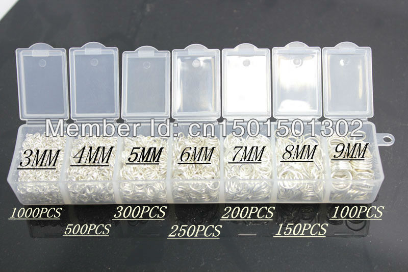 3-9MM 2500PCS Sterling Silver Plated Jump Ring Silver Components DIY Jewelry Accessories 925 silver Plated rings
