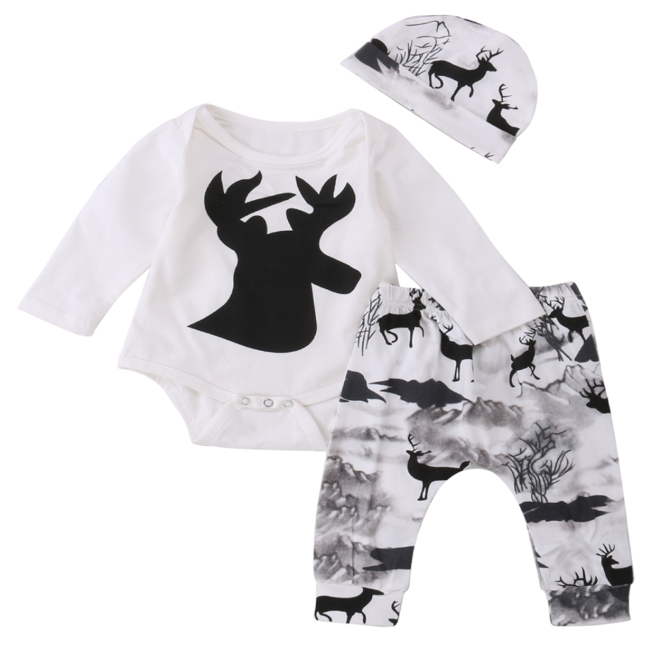 Newborn Baby Girl Boy Deer Printing Romper Pants Leggings hat 3pcs Cute Kids Outfits Set Clothes skullies beanies newborn cute winter kids baby hats knitted pom pom hat wool hemming hat drop shipping high quality s30
