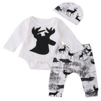 Newborn Baby Girl Boy Deer Printing Romper Pants Leggings Hat 3pcs Cute Kids Outfits Set Clothes