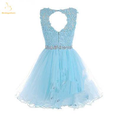 Bealegantom 2019 זול כחול אדום מלכותי כחול קצר שמלות נשף חרוזים טול שיבה הביתה בתוספת גודל ערב מסיבת שמלת QA1551