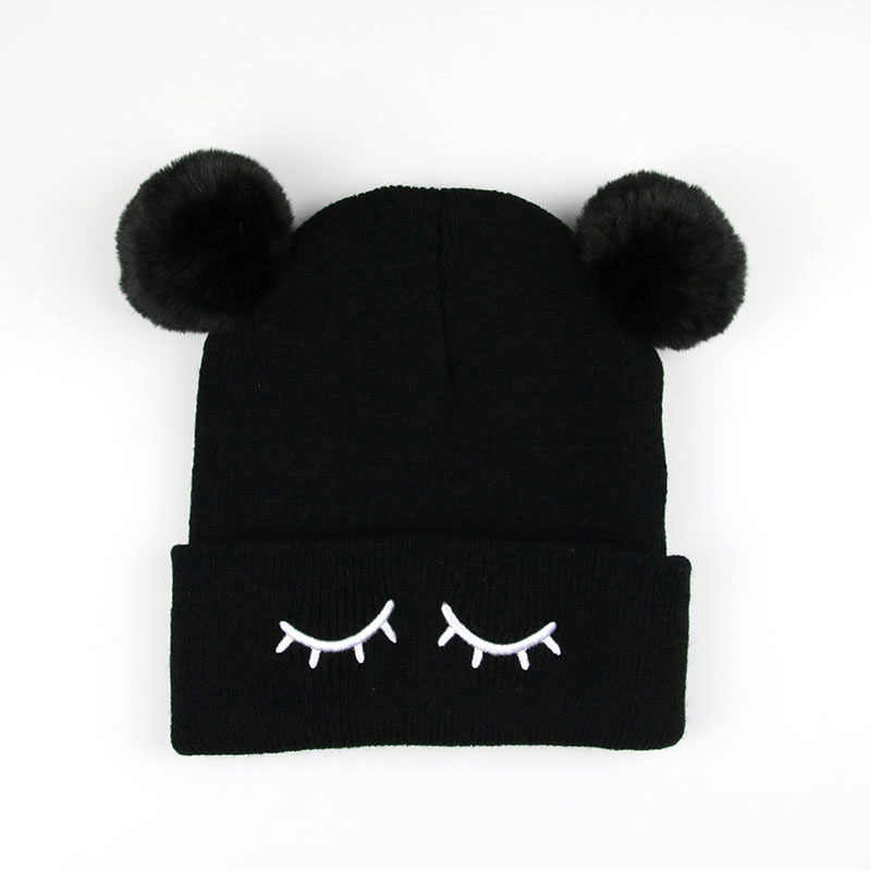 380cc58ac New Autumn baby boy and girl knit hat winter warm cap children Pom Poms  Ball beanies kids Cute Eyelash embroidery Cap H12