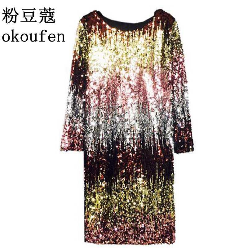 2018 spring new European and American heavy beaded gradient sequin bling  slim ladies dress 0ae44e082605