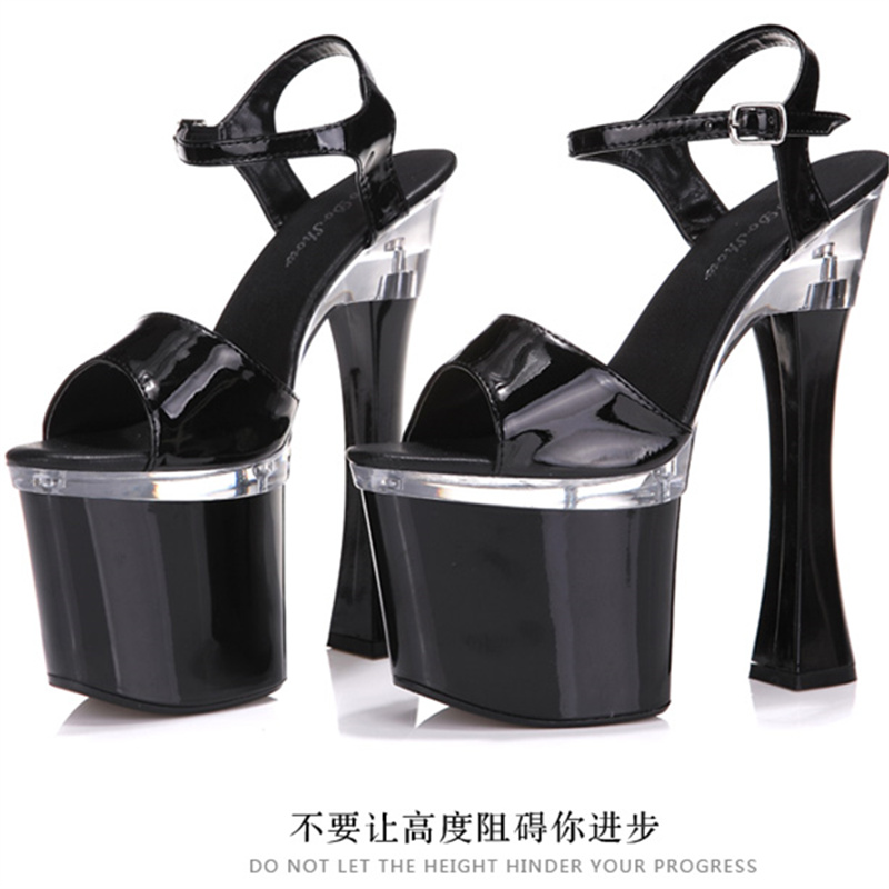 Plus Big Size Qitong PU Woman Thin Ultra High Heels Platform Sandals Nightclub Woman High Heeled Sexy Party Shoes for T Station  euro size 34 44 pu woman 15 and 17cm high heels platform sandals nightclub woman high heeled birthday party shoes for t station