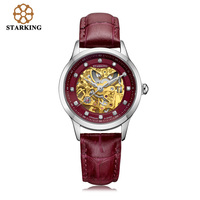Original STARKING Women Skeleton Automatic Mechanical Watch New Arrival Women Fashion Casual Leather Watches clock
