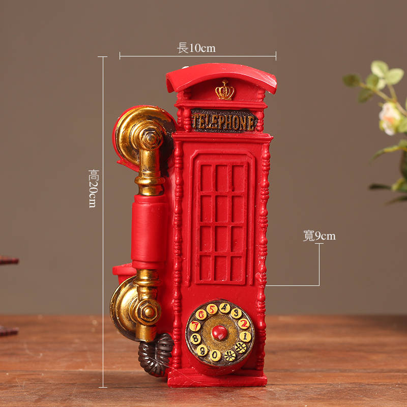 Antique Resin Telephone Booth Ornament Crafts Handicrafts Furnishing Articles Home Decoration Photography Props Originality Gift in Figurines Miniatures from Home Garden