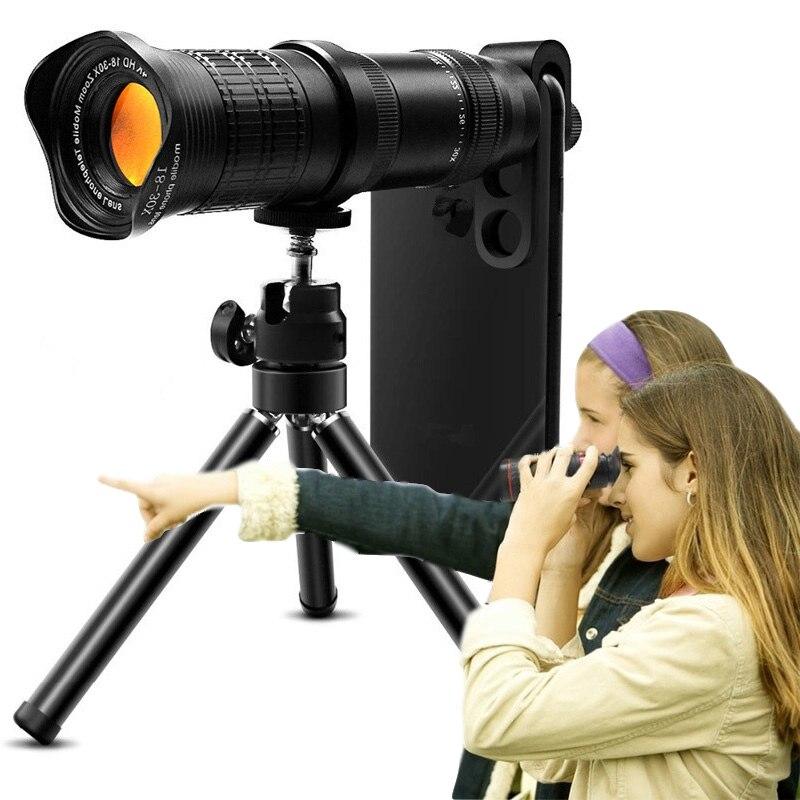 Adjustable Telephoto Camera Zoom Lens Kit 18 30X HD Professional Mobile Phone Telescope Lenses for iPhone Smartphone Lentes