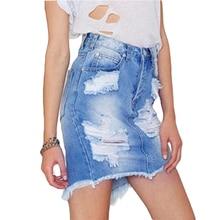 Summer Fashion Faded Blue Denim Skirt Ripped Fringe Jean Skirt With Holes High Waist Mini Short Skirt With Pockets Women