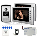 - Home 7 inch Video Intercom Door Phone System 1 RFID Access Doorbell Camera + 2 Monitors Remote Controller In Stock