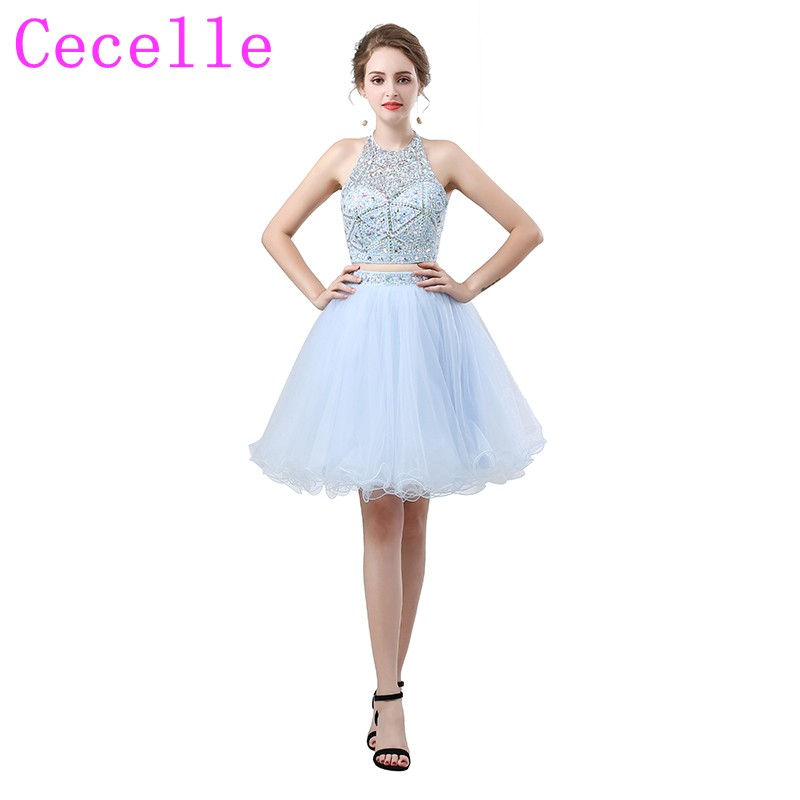 2018 New Blue Two Pieces Short Cocktail Dresses Beaded Top Tulle