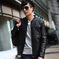 New Spring autumn men's motorcycle leather clothing slim PU plus cotton leather jacket coat plus size / M-5XL / Free shipping !