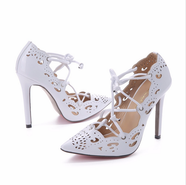 Women Pumps 2017 Brand Sexy High Heels Wedding Party Woman Shoes Gold and White Heels Zapatos Mujer Plus Size 35-40 Fashion shoe