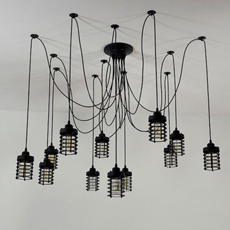 Art Black DIY Vintage Adjustable E27 Edison Bulb pendant lamp Loft Antique Retro Spider Chandelier Hanging Fixture Lighting vintage nordic retro edison bulb light chandelier loft antique adjustable diy e27 art spider pendant lamp home lighting