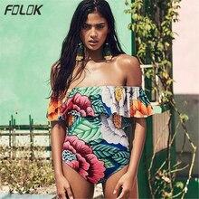 лучшая цена Ruffle Swimsuit Women Bathing Suit Sexy Swimwear One-piece Swimsuit Floral Print Beach Wear maillot de bain femme