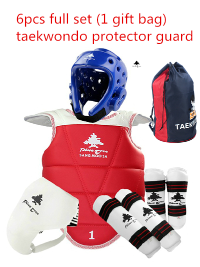 Free shipping Adult kids taekwondo thickening wtf taekwondo protection 6pcs TKD chest protector karate helmet 1 gift bag free shipping wesing women karate chest guard female boxing chest protector approved wkf