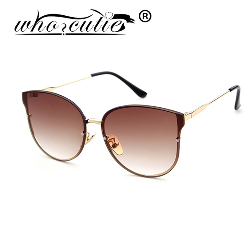 WHO CUTIE Female Grade Glasses Frame Cat Eye Sunglasses Luxury Brand Cateye Sun Glasses UNISEX ...