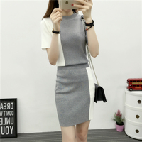 Korean Fashion Two Piece Elastic New Color Contrast Knitting Sweater Top Bodycon Skirt 2 Pcs Knitwear