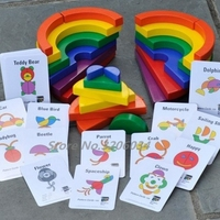 Wooden New Wooden Baby Toy Rainbow Blocks circle Set match a picture Baby Gifts educational learning Kid's Soft Wooden Toy Set