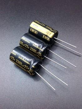 цена на 2019 hot sale 10pcs/30pcs Nichicon KW 3300uF/25V genuine spot 3300uf 25v audio import for capacitor free shipping