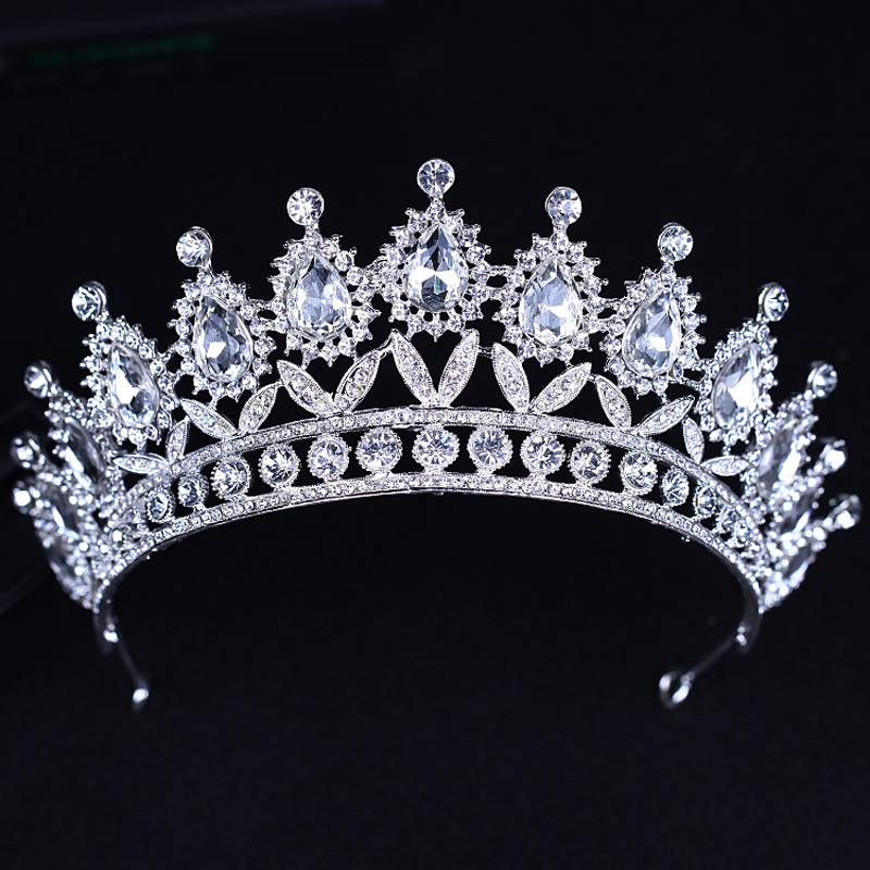 Crystal Queen Tiara Crown Rhinestones Pageant Quinceanera Crown Prom Princess Headpiece Bridal Wedding Headband Hair Accessories