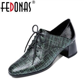 3708b9c3f FEDONAS/новые туфли-лодочки на высоком каблуке; обувь из натуральной кожи;  женская пикантная обувь; Chaussure; женские лоферы на каждый день со шнуро.