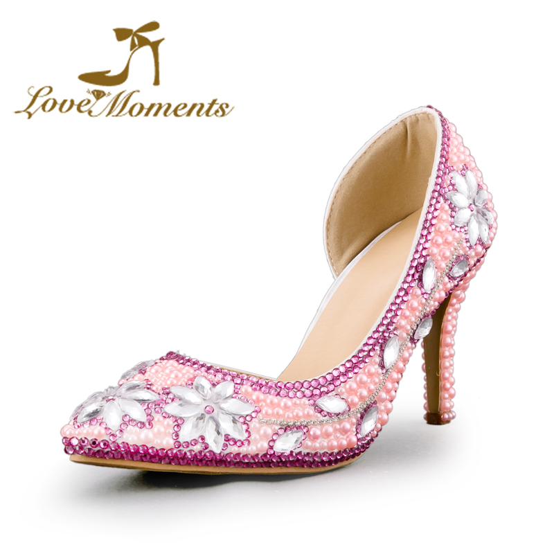 Love Moment Thin High Heel Pumps woman wedding shoes pink/white/red party dress shoes Delicate crystal Ladies Pointed Toe shoes delicate love delicate love de019ewivj76