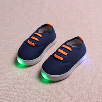 Kids LED Light Luminous Canvas Shoes Boys Girls Elastic Casual Shoes Children New Spring Summer Solid