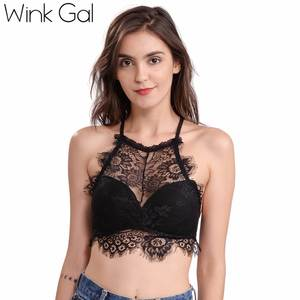 cee2494441922 2018 Wink Gal New Lace Backless Women Bralette Sexy Bra Halter Brassiere  Padded Push Up Lingerie Crop Top W12203