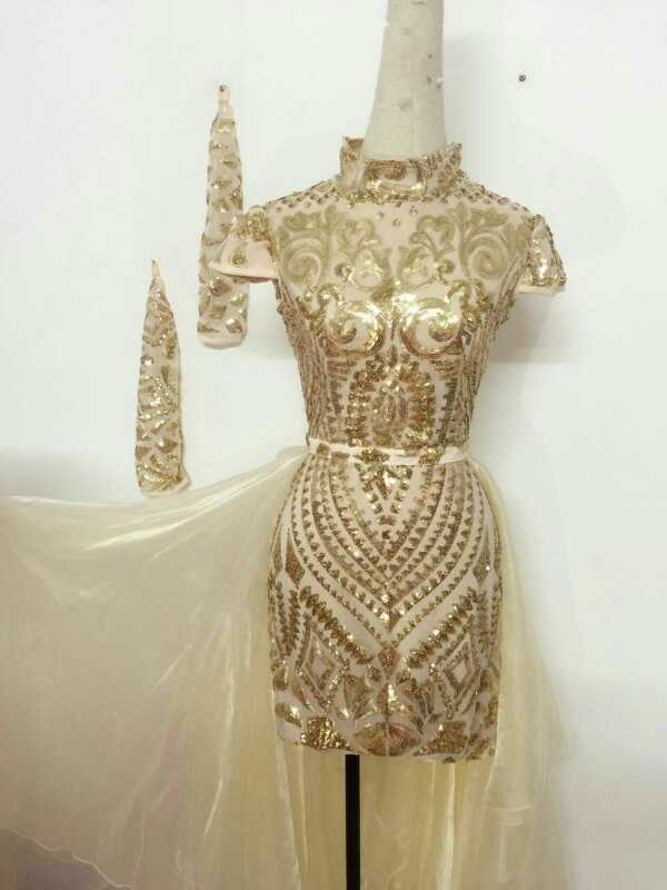 Fashion Gold Sequins Dress Sexy Evening dresses Clothing Wear One piece Dresses