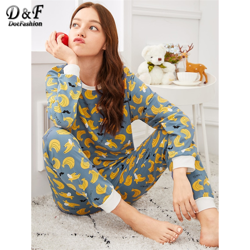 Dotfashion Banana Print   Pajama     Set   With Eye Mask Women Autumn Clothing 2019 Casual Long Sleeve Nightwear Womens   Pajama     Sets