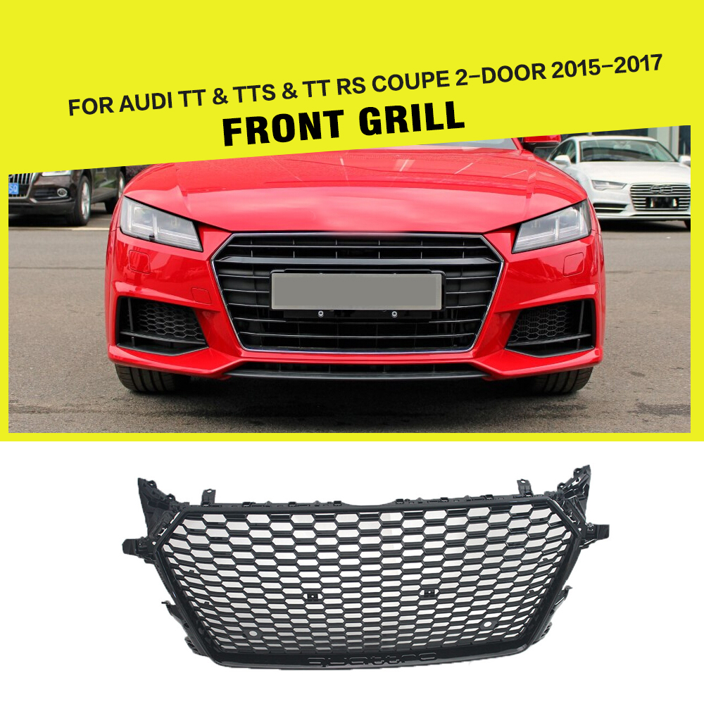Ttrs car styling abs mesh front bumper grill grille for audi tt tts tt rs coupe 2 door 2015 2017