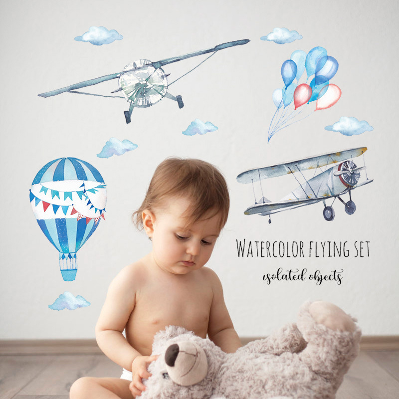 Watercolor airplane hot air balloon Wall Sticker kids baby rooms home decoration PVC Mural Decals home stickers wallpaper image