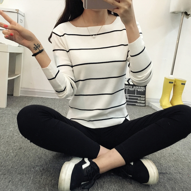 Striped-collar-sweater-sweater-autumn-thin-coat-dress-lady-shirt-autumn-jacket-female (1)