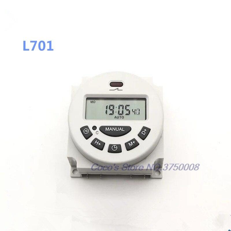 Цифровой таймер питания Mini L701, программируемое реле времени с ЖК дисплеем на 7 дней, переменный ток 220 В/110 В/24 В/12 В, таймер L701
